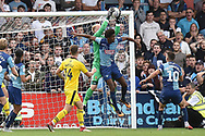 Oxford United goalkeeper (on loan from Derby County) Jonathan Mitchell (41) makes an important save during the EFL Sky Bet League 1 match between Wycombe Wanderers and Oxford United at Adams Park, High Wycombe, England on 15 September 2018.
