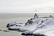 whaler's bay, Deception Island, the South Shetland Islands archipelago, with one of the safest harbours in Antarctica.