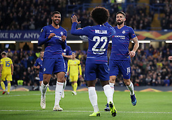 Chelsea's Ruben Loftus-Cheek (left) celebrates scoring his side's second goal of the game during the UEFA Europa League, Group L match at Stamford Bridge, London.
