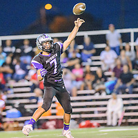 Miyamura Patriot Matt Chavez (7) launches a pass during the homecoming football game agains the Grants Pirates at Public School Stadium in Gallup Friday.