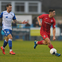 TELFORD COPYRIGHT MIKE SHERIDAN Adam Walker of Telford steps away from Guiseley's Lee Shaw during the Buildbase FA Trophy 3Q fixture between Guiseley and AFC Telford United at Nethermoor Park on Saturday, November 23, 2019.<br /> <br /> Picture credit: Mike Sheridan/Ultrapress<br /> <br /> MS201920-031
