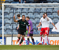Raith Rovers Joel Thomas (15) cele scoring their goal. <br /> half time : Raith Rovers 1 v 0 Falkirk, Scottish Championship game played 23/4/2016 at Stark's Park.