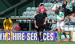 Dejection for Matthew Dolan of Yeovil Town after being sent off. - Photo mandatory by-line: Harry Trump/JMP - Mobile: 07966 386802 - 15/08/15 - SPORT - FOOTBALL - Sky Bet League Two - Yeovil Town v Bristol Rovers - Huish Park, Yeovil, England.