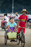 06 JUNE 2014 - IRRAWADDY DELTA,  AYEYARWADY REGION, MYANMAR: A pedicab taxi in Pantanaw, a town in the Irrawaddy Delta (or Ayeyarwady Delta) in Myanmar. The region is Myanmar's largest rice producer, so its infrastructure of road transportation has been greatly developed during the 1990s and 2000s. Two thirds of the total arable land is under rice cultivation with a yield of about 2,000-2,500 kg per hectare. FIshing and aquaculture are also important economically. Because of the number of rivers and canals that crisscross the Delta, steamship service is widely available.   PHOTO BY JACK KURTZ
