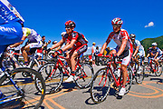 Professional cyclists and spectators at the Amgen Tour of California, Santa Monica Mountains, California