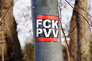 Nederland, Nijmegen, 12-3-2017Op een lantaarnpaal is een sticker geplakt tegen de PVV door de AFA, anti fascistische aktie.Foto: Flip Franssen