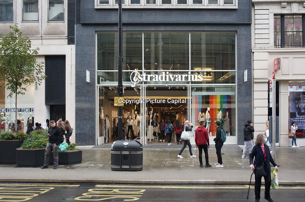 stradivarius women shop is easy to earn money from women fashion than men at Oxford Street on 2021-09-10, London, UK.