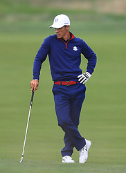Team Europe's Thorbjorn Olesen reacts on the tenth fairway during the Fourballs match on day one of the Ryder Cup at Le Golf National, Saint-Quentin-en-Yvelines, Paris.