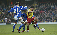 Photo: Marc Atkins.<br /> Watford v Ipswich Town. The FA Cup. 17/02/2007. Johan Cavalli (R) of Watford breaks clear from Jaime Peters & Goerge O'Callaghan of Ipswich.
