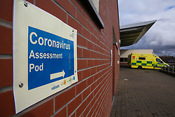 © Licensed to London News Pictures. 14/03/2020. London, UK. Coronavirus assessment pod at North Middlesex University Hospital in Edmonton, north London, where two patients have tested positive for COVID-19. On Friday 13 March, a newborn baby was diagnosed with coronavirus becoming the youngest patient in the UK to be tested positive. The baby's mother is treated in North Middlesex University Hospital. 21 coronavirus victims have died and 820 cases have tested positive for the virus in the UK. Coronavirus will force NHS to cancel routine operations. Photo credit: Dinendra Haria/LNP