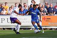 AFC Wimbledon attacker Michael Folivi (17) dribbling inside the box during the EFL Sky Bet League 1 match between AFC Wimbledon and Shrewsbury Town at the Cherry Red Records Stadium, Kingston, England on 14 September 2019.