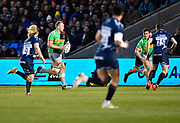Harlequins No.8 Alex Dombrandt makes a break during a Gallagher Premiership match at the AJ Bell Stadium, Eccles, Greater Manchester, United Kingdom, Friday, April 5, 2019. (Steve Flynn/Image of Sport)