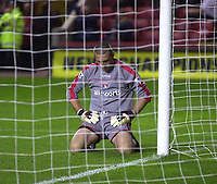 Photo. Glyn Thomas<br />Charlton Athletic v Luton Town. Carling Cup 2nd round.<br />The Valley, Charlton. 23/09/2003.<br />Charlton's keeper Dean Kiely cannot believe what he has done after allowing Luton to equalise in the second half of extra time.
