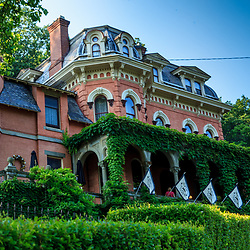 Jim Thorpe, PA, USA - June 20, 2013: The Asa Packer Mansion, in Jim Thorpe, Pennsylvania, United States, was the home of coal and railroad magnate Asa Packer. It is one of the best preserved Italianate Villa homes in the United States.