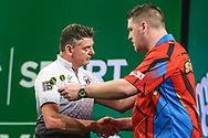 Justin Pipe after his quarter final win over Daryl Gurney during the PDC Darts Players Championship at  at Butlins Minehead, Minehead, United Kingdom on 26 November 2017. Photo by Shane Healey.