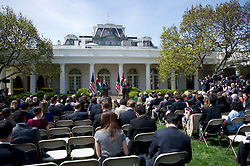 United States President Donald J. Trump, right, and King Abdullah II of Jordan, left, conduct a joint press conference in the Rose Garden of the White House in Washington, DC on Wednesday, April 5, 2017.<br /> Credit: Ron Sachs / CNP *** Please Use Credit from Credit Field ***