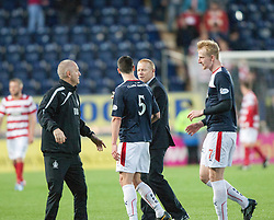 Falkirk's manager Gary Holt at the end.<br /> Falkirk 1 v 1 Hamilton, Scottish Premiership play-off semi-final first leg, played 13/5/2014 at the Falkirk Stadium.