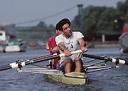 Molesey, Great Britain. GBR M4+ stroke man Gavin STEWART. 1992 British International Rowinig Training on the Molesey Reach, Surrey,  [Mandatory Credit. Peter Spurrier/Intersport Images] +1992 +Molesey +Henley 1992 GBRowing Training, Molesey/Henley, United Kingdom