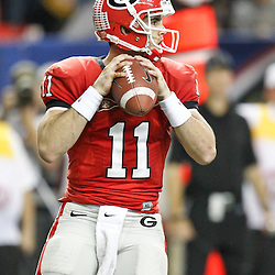 Dec 3, 2011; Atlanta, GA, USA; Georgia Bulldogs quarterback Aaron Murray (11) against the LSU Tigers during the first half of the 2011 SEC championship game at the Georgia Dome.  Mandatory Credit: Derick E. Hingle-US PRESSWIRE