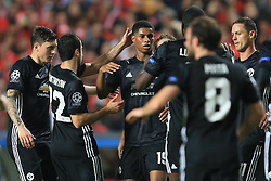 18 October 2017 -  UEFA Champions League - (Group A) - SL Benfica v Manchester United  - Marcus Rashford of Manchester United celebrates among team mates after scoring the opening goal - Photo: Marc Atkins/Offside