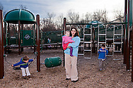 Shannon and her family at their favorite playground, where her late husband would take the boys every weekend he was home.
