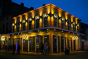 Bandstand live blues club in famous Bourbon Street in French Quarter of New Orleans, USA