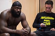 Houston, Texas - February 19, 2016: Kimbo Slice waits backstage before his fight against Dada 5000 during Bellator 149 at the Toyota Center in Houston, Texas on February 19, 2016. (Cooper Neill for ESPN)