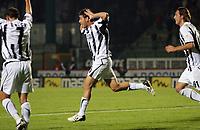 """L'esultanza di Francesco Cozza dopo il gol<br /> Francesco Cozza celebrates after scoring goal for Siena<br /> Italian """"Serie A"""" 2006-07<br /> 14 Oct 2006 (match day 6)<br /> Siena-Messina (3-1)<br /> """"A.Franchi"""" Stadium-Siena-Italy<br /> Photographer Luca Pagliaricci INSIDE"""
