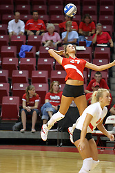 18 AUG 2007: Katie Seyller serving. The Illinois State Redbirds, picked for 5th in the pre-season Missouri Valley Conference coaches poll, prepare for the beginning of the season during the annual Red/White inter-squad scrimmage at Redbird Arena in Normal Illinois.