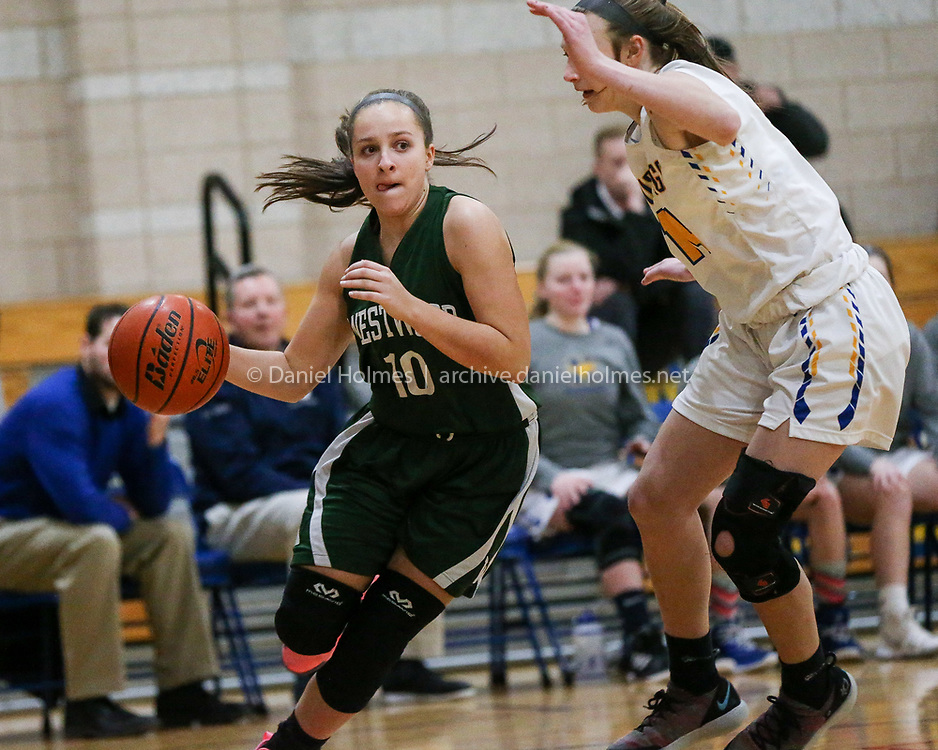 (1/15/19, NORWOOD, MA) Westwood's Hannah Bean   drives to the basket during the girls basketball game against Norwood at Norwood High School on Tuesday. [Daily News and Wicked Local Photo/Dan Holmes]