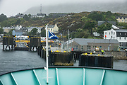 """Car ferry terminal at Tarbert, the main town of Harris in the Outer Hebrides (Western Isles) of Scotland, United Kingdom, Europe. In Gaelic, Tarbert means """"isthmus,"""" """"crossing point"""" or """"portage"""". The Tarbert ferry connects to Uig on Skye."""