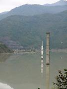 Turkey, Birecik Dam, Euphrates river, Submerged mosque turret flooded by the dam