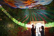 Parmenter and Liana Welty enjoy free wine tasting at the small winery - restaurant El Mezon del Vino, Baja California Norte, Mexico.
