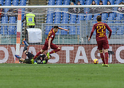 January 19, 2019 - Rome, Italy - Salvatore Sirigu commits a penalty foul on Stephan El Shaarawy during the Italian Serie A football match between A.S. Rome and F.C. Turin at the Olympic Stadium in Rome, January 19, 2019. (Credit Image: © Silvia Lore/NurPhoto via ZUMA Press)