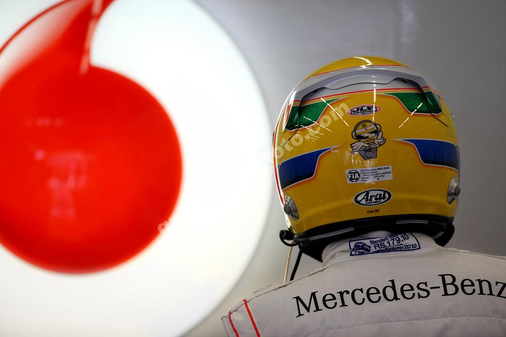 Lewis Hamilton (McLaren-Mercedes) puts on his helmet before practice for the 2010 Turkish Grand Prix. Photo: Grand Prix Photo