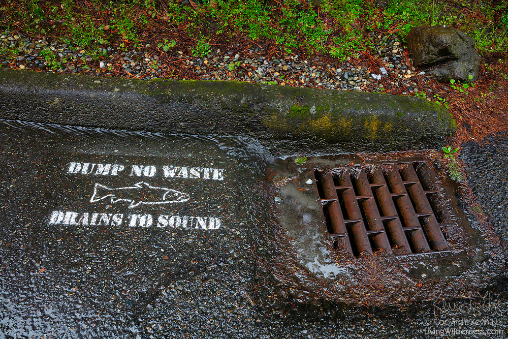 "Runoff from a rainstorm flows past a water-quality warning sign and into a stormwater drain in Shoreline, Washington. The painted sign features a salmon icon and reads, ""Dump no waste. Drains to Sound."" Sound refers to Puget Sound, a large body of water in Washington state."