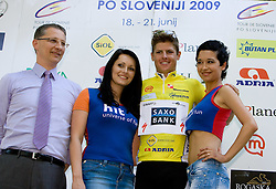 Minister for sport Igor Luksic and Jakob Fuglsang (DEN) of Team Saxo Bank, General classification winner after 2nd stage of Tour de Slovenie 2009 from Kamnik to Ljubljana, 146 km, on June 19 2009, Slovenia. (Photo by Vid Ponikvar / Sportida)