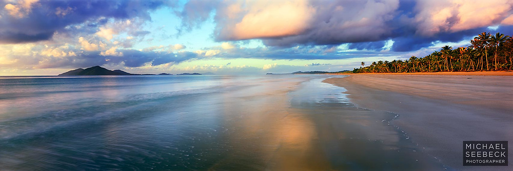 A panoramic photograph of Mission Beach at dawn, with Dunk Island to the left.<br /> <br /> Limited Edition of 475 only