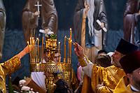 Suprasl, woj. podlaskie, 27.06.2021. Uroczystosc poswiecenia cerkwi Zwiastowania Bogurodzicy, czesci prawoslawnego monasteru supraskiego ( Lawry Supraskiej ). Cerkiew z poczatku XVI wieku, po zniszczeniach wojennych, byla odbudowywana od 1984 roku. N/z prawoslawni duchowni podczas nabozenstwa fot Michal Kosc / AGENCJA WSCHOD