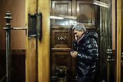 Nichi Vendola, al telefono, nell'ingresso del teatro Capranica. Roma, 3 dicembre 2013. Christian Mantuano / OneShot