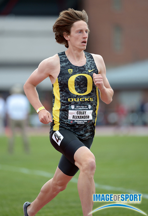 May 17, 2014; Pullman, WA, USA; Colby Alexander of Oregon competes in the 1,500m in the 2014 Pac-12 Championships at the Mooberry Track & Field Complex.
