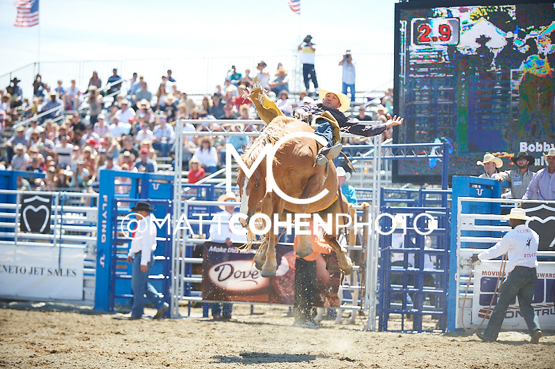 Bareback rider Bobby Mote of Culver, OR rides -Q39 Grease Monkey at the Rancho Mission Viejo Rodeo in San Juan Capistrano, CA.  <br /> <br /> <br /> UNEDITED LOW-RES PREVIEW<br /> <br /> <br /> File shown may be an unedited low resolution version used as a proof only. All prints are 100% guaranteed for quality. Sizes 8x10+ come with a version for personal social media. I am currently not selling downloads for commercial/brand use.