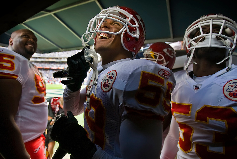 Kansas City Chiefs linebacker Donnie Edwards, a former San Diego Chargers player, laughed at the taunting of the San Diego fans as the team was waiting to be introduced prior to the game on November 9, 2008 at Qualcomm Stadium in San Diego, CA.