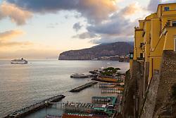 Sorrento, Italy, September 15 2017. As day breaks, a cruise ship lies at anchor off Sorrento, Italy. © Paul Davey
