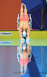 JAKARTA, Aug. 24, 2018  Sun Yang of China enters water during men's 1500m freestyle final of swimming at the 18th Asian Games in Jakarta, Indonesia, Aug. 24, 2018. (Credit Image: © Pan Yulong/Xinhua via ZUMA Wire)