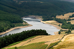 The effects of the heatwave of current heatwave can be clearly seen in the Depleted water levels at Derwent Reservoir in the Peak national park. <br />