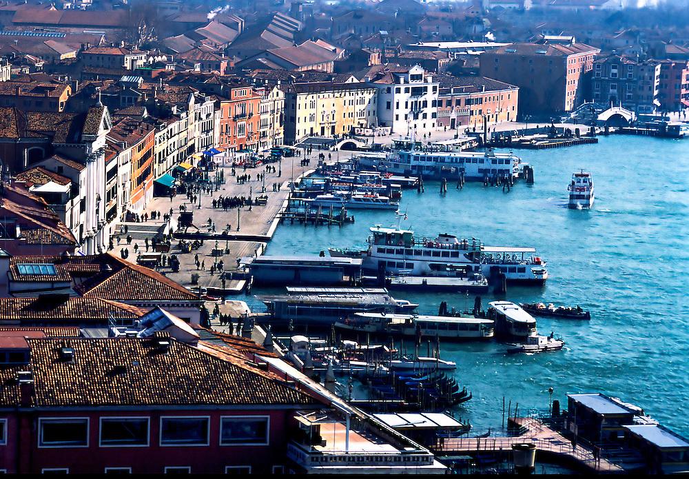 Venice, water traffic along Riva degli Schiavione from the top of the Campanile, Piazza San Marco..