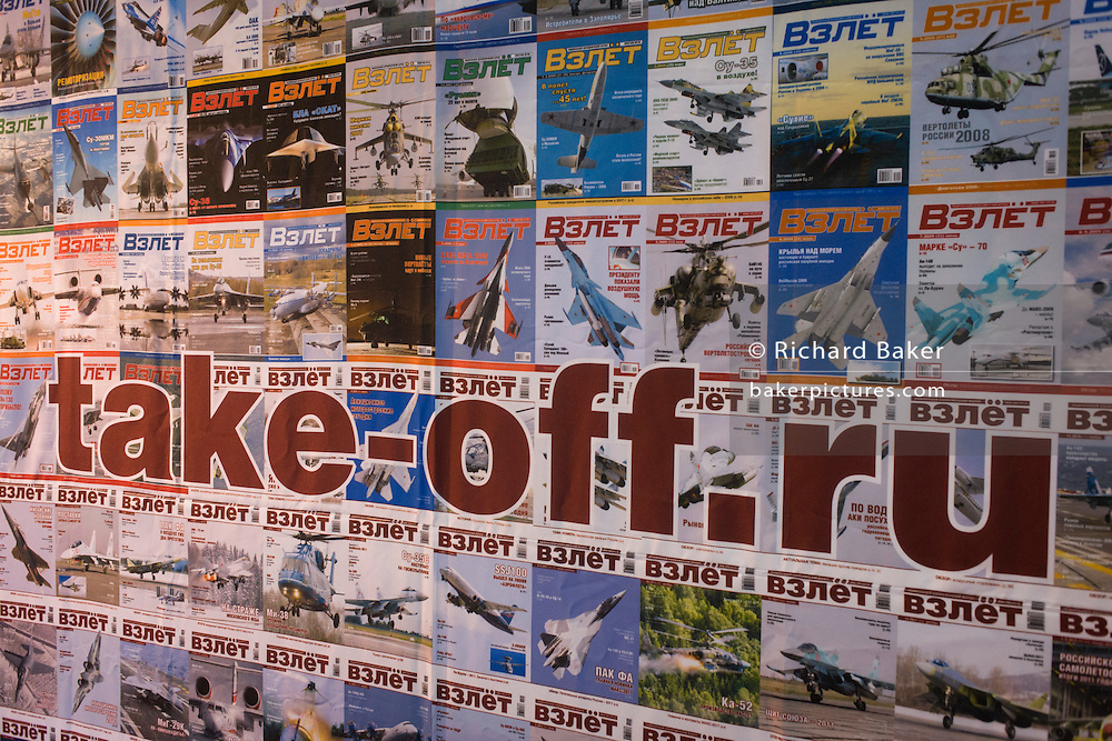 The front covers of Russian aviation magazine Take-Off at the Farnborough Air Show, England.