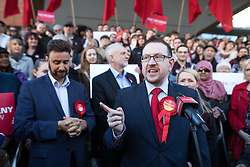 © Licensed to London News Pictures . 05/05/2017. Manchester, UK. ANDREW GWYNNE speaks in Manchester following Andy Burnham's victory in the Manchester Metro mayoralty campaign , for a Momentum Rally on the steps of the Manchester Convention Centre . Andy Burnham did not attend . Photo credit: Joel Goodman/LNP