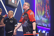 Stephen Bunting shows frustration during the William Hill World Darts Championship Semi-Finals at Alexandra Palace, London, United Kingdom on 2 January 2021.